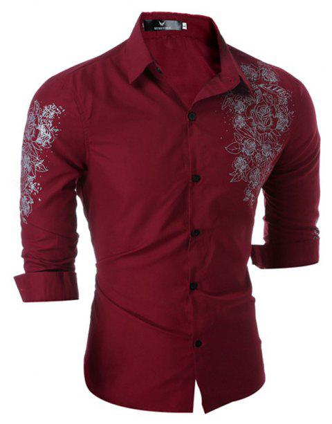 M-3XL New Chinese Style Men's shirts British printed shirts Long Sleeve - WINE RED L