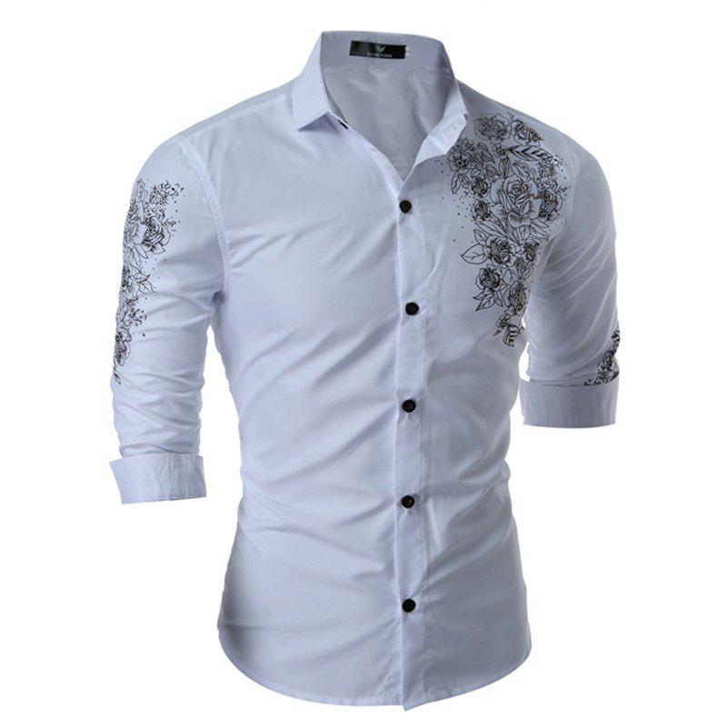 M-3XL New Chinese Style Men's shirts British printed shirts Long Sleeve - WHITE M