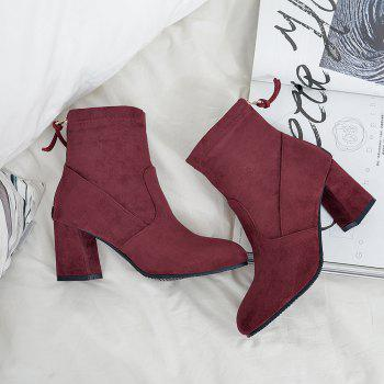 Fashion Zipper Heel  Woman Short Boots - BURGUNDY BURGUNDY