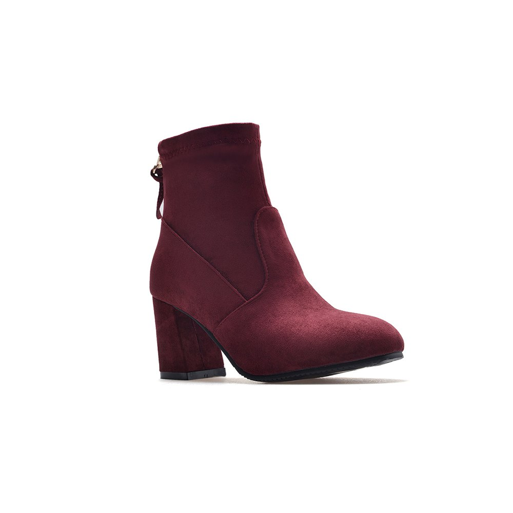 Fashion Zipper Heel  Woman Short Boots - BURGUNDY 35