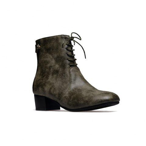 Women's Boots Design Lace Up Heel Shoes - ARMYGREEN 34