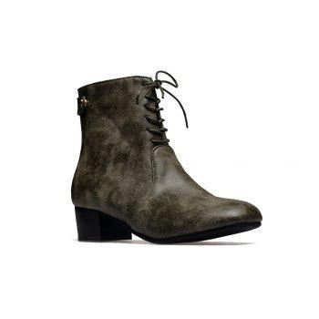 Women's Boots Design Lace Up Heel Shoes - ARMYGREEN ARMYGREEN
