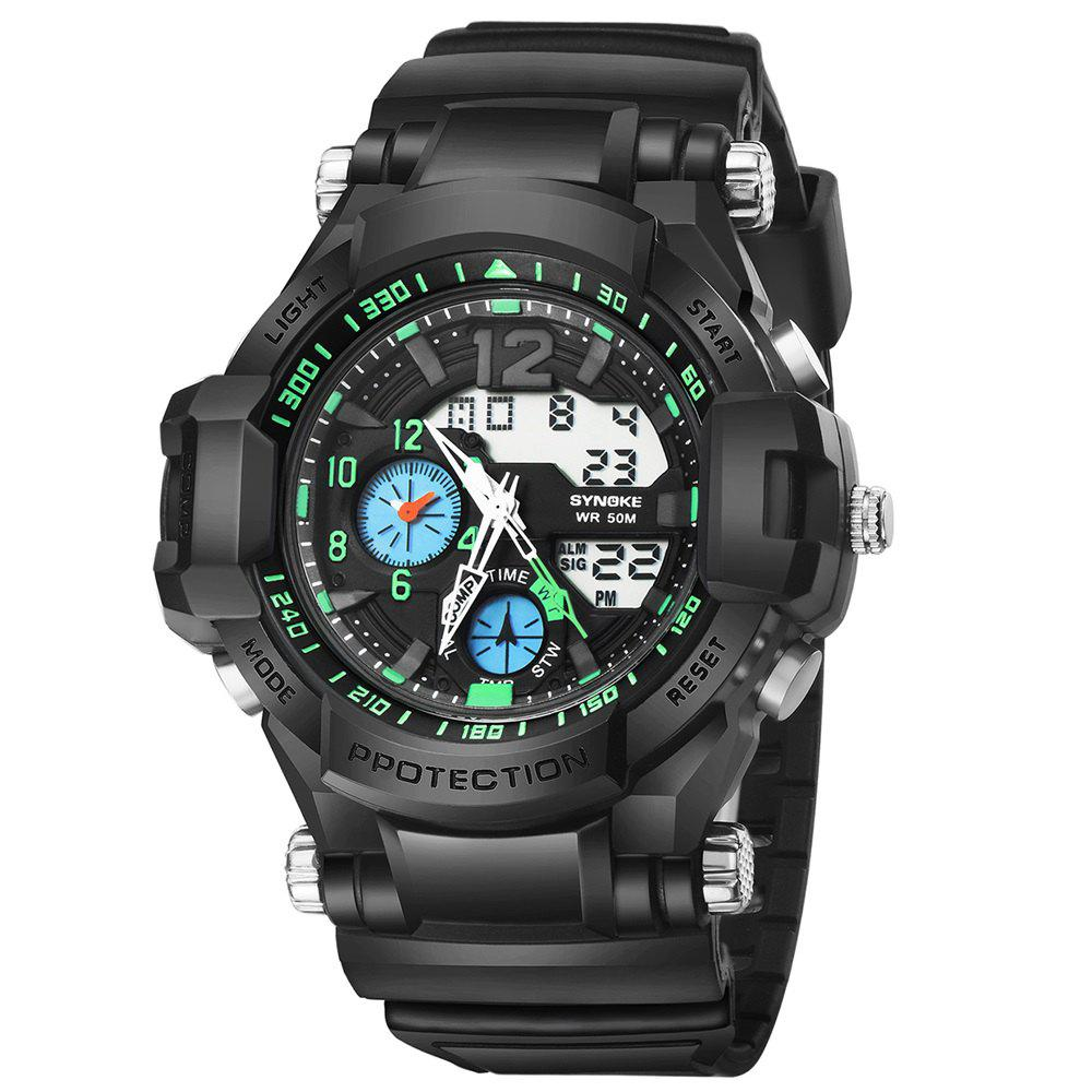 SYNOKE 67366 Men LED Digital Quartz Sport Watch - GREEN