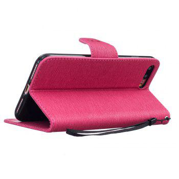 Little Bear Embossed Wallet Flip PU Leather Card Holder Standing Phone Case for iPhone 7 Plus / 8 Plus - ROSE RED