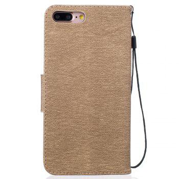Little Bear Embossed Wallet Flip PU Leather Card Holder Standing Phone Case for iPhone 7 Plus / 8 Plus - GOLDEN