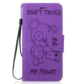 Little Bear Embossed Wallet Flip PU Leather Card Holder Standing Phone Case for iPhone 7 Plus / 8 Plus - PURPLE