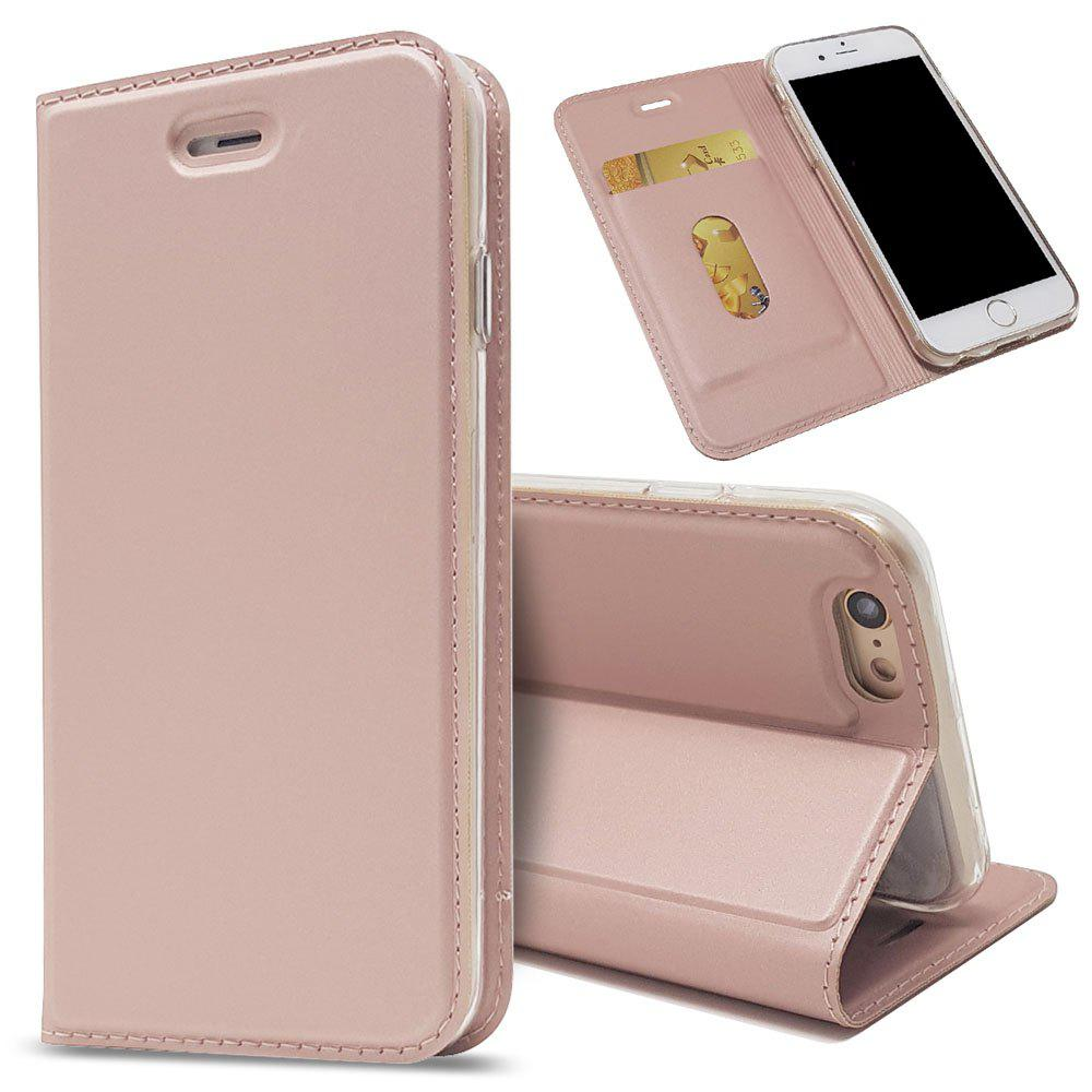 New Luxury Flip Card Slot Magnetic Suction PU Leather Cover for iPhone 6 / 6s - ROSE GOLD
