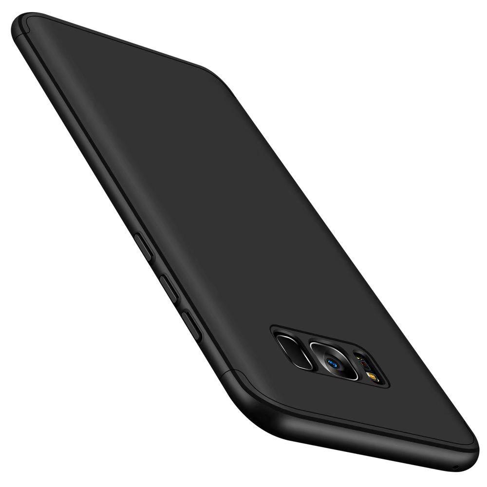 Luxury 3 in 1 Ultra Slim Hard PC Premium Case Hybrid Anti Fingerprint Scratches Soft Grip 360 Degree Full Body Protection Cover for Samsung Galaxy S8 Plus - BLACK