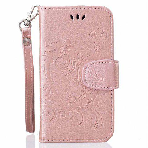 Imprint Heart Flower Wallet Leather Stand Cell Phone Cover with Magnet for Samsung Galaxy  S5 Mini - ROSE GOLD