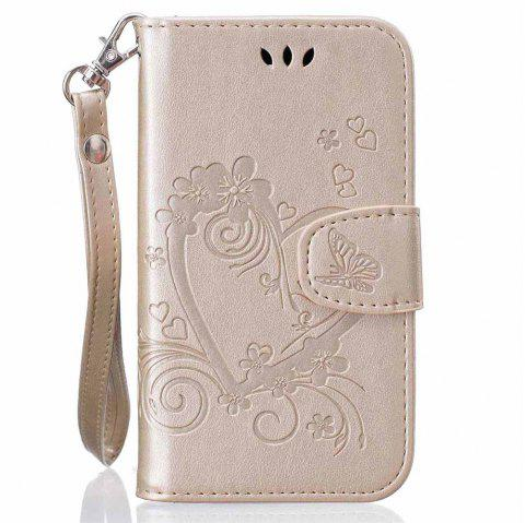 Imprint Heart Flower Wallet Leather Stand Cell Phone Cover with Magnet for Samsung Galaxy  S5 Mini - GOLDEN