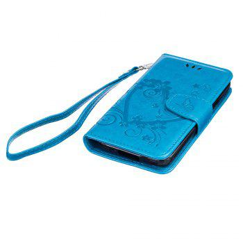 Imprint Heart Flower Wallet Leather Stand Cell Phone Cover with Magnet for Samsung Galaxy  S5 Mini - BLUE