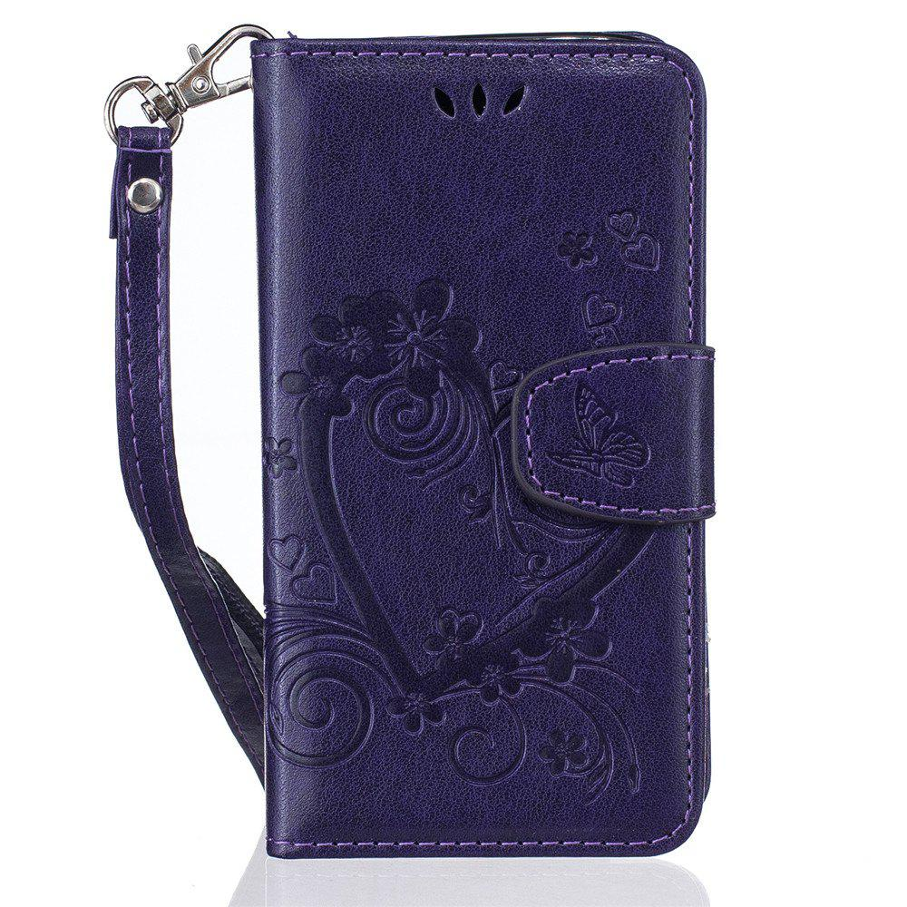 Imprint Heart Flower Wallet Leather Stand Cell Phone Cover with Magnet for Samsung Galaxy  S5 Mini - PURPLE
