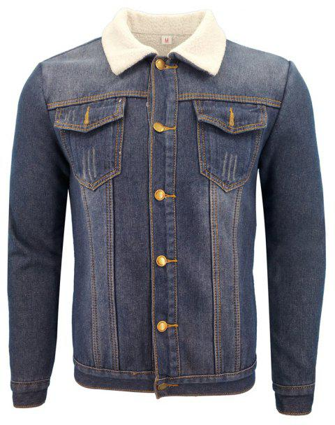 Men'S Winter Casual Coat Jacket with A Thick, Fleece and Lapel Denim Jacket - BLUE M