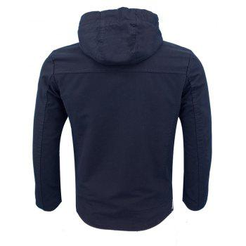 Fall and Winter Fashion Men'S Casual Hooded Cotton Wash Jacket - CADETBLUE XL