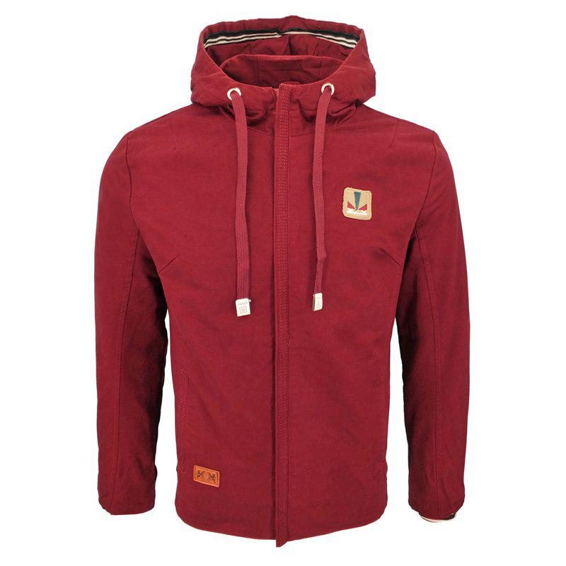 Fall and Winter Fashion Men'S Casual Hooded Cotton Wash Jacket - BURGUNDY M