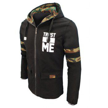 Men'S Autumn and Winter Stitching Camouflage Fashion Jacket Casual Hooded Washed Coat - BLACK 4XL