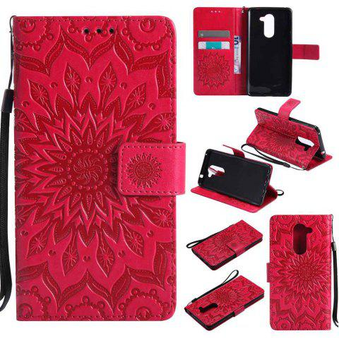 Embossed Sun Flower PU TPU Phone Case for HUAWEI  Honor 6x - RED