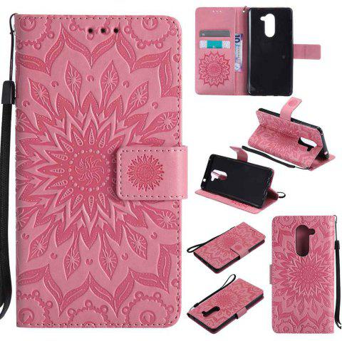 Embossed Sun Flower PU TPU Phone Case for HUAWEI  Honor 6x - PINK