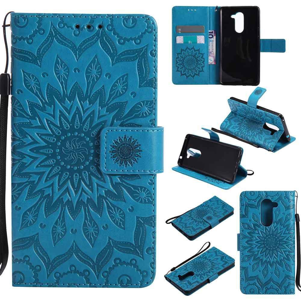 Embossed Sun Flower PU TPU Phone Case for HUAWEI  Honor 6x - BLUE