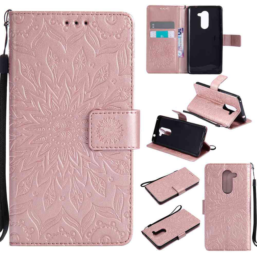 Embossed Sun Flower PU TPU Phone Case for HUAWEI  Honor 6x - ROSE GOLD