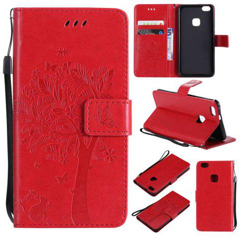 Double Embossed Sun Flower PU TPU Phone Case for HUAWEI P10 Lite - RED