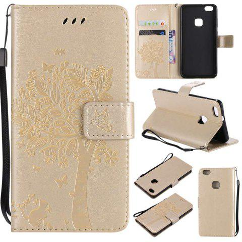 Double Embossed Sun Flower PU TPU Phone Case for HUAWEI P10 Lite - GOLDEN