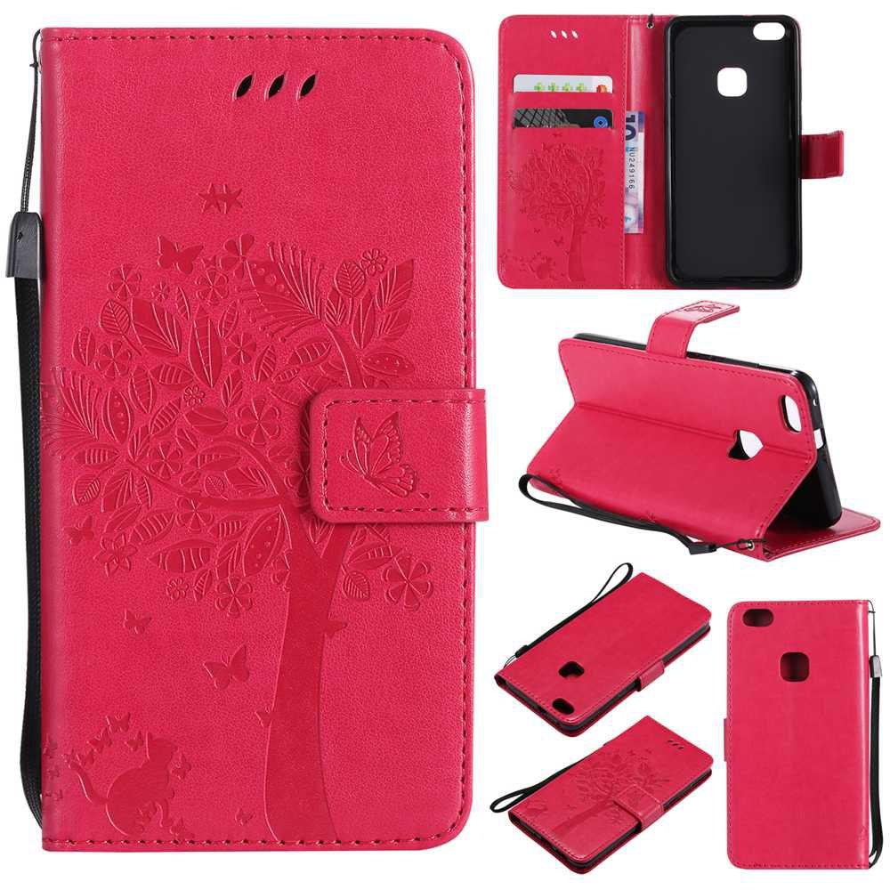 Double Embossed Sun Flower PU TPU Phone Case for HUAWEI P10 Lite - ROSE MADDER