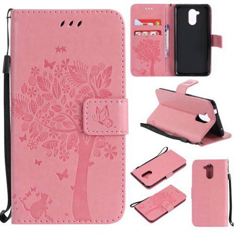 Double Embossed Sun Flower PU TPU Phone Case for HUAWEI  6C / Enjoy6s - PINK