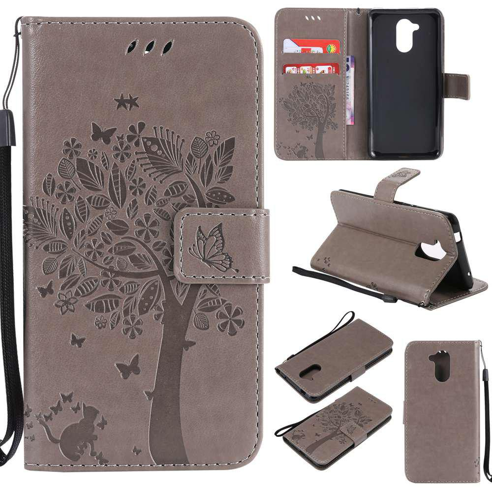 Double Embossed Sun Flower PU TPU Phone Case for HUAWEI  6C / Enjoy6s - GRAY
