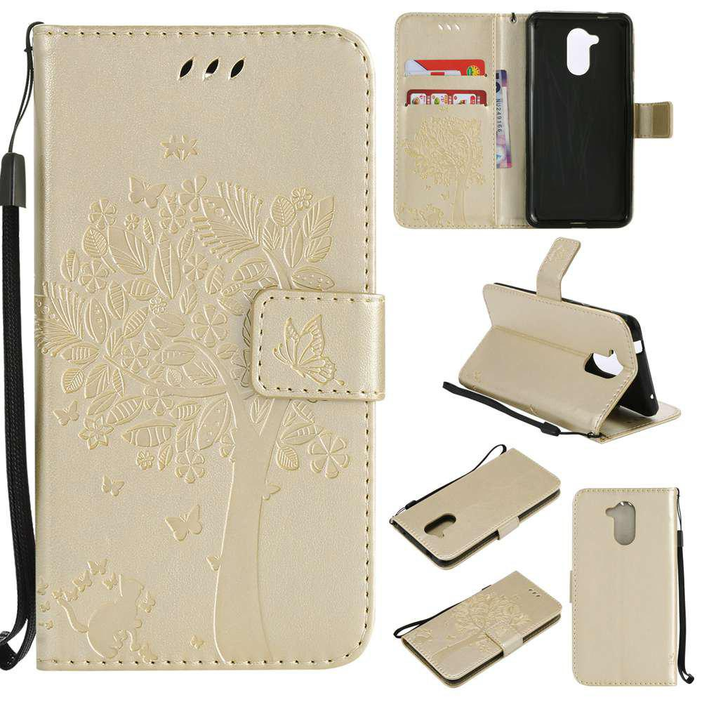 Double Embossed Sun Flower PU TPU Phone Case for HUAWEI  6C / Enjoy6s - GOLDEN