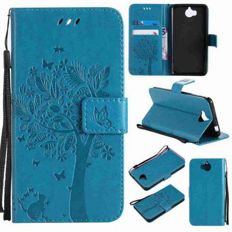 Double Embossed Sun Flower PU TPU Phone Case for HUAWEI  Y5 2017 / Y6 2017 - BLUE