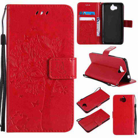 Double Embossed Sun Flower PU TPU Phone Case for HUAWEI  Y5 2017 / Y6 2017 - RED