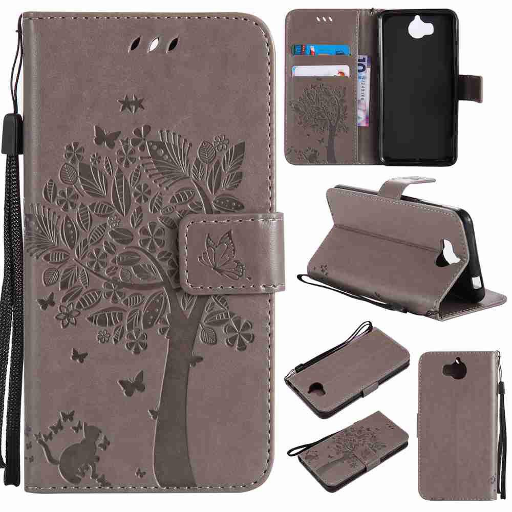 Double Embossed Sun Flower PU TPU Phone Case for HUAWEI  Y5 2017 / Y6 2017 - GRAY
