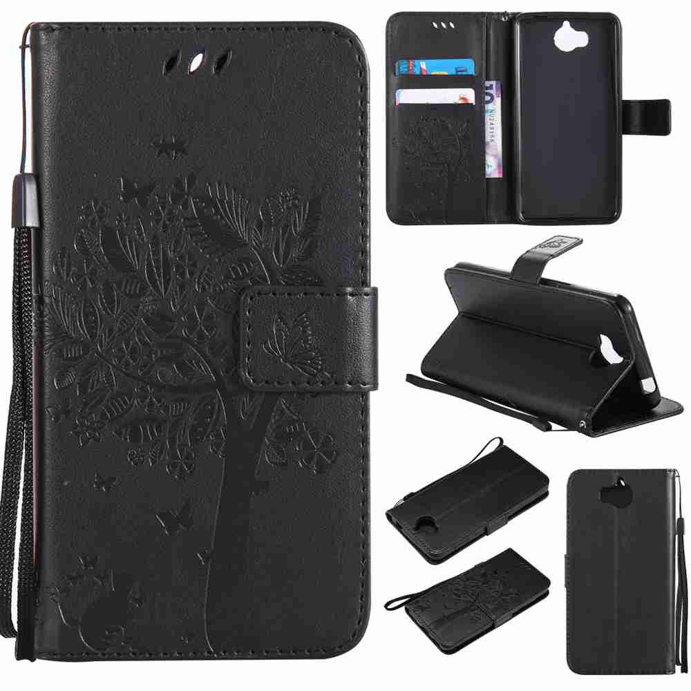 Double Embossed Sun Flower PU TPU Phone Case for HUAWEI  Y5 2017 / Y6 2017 - BLACK