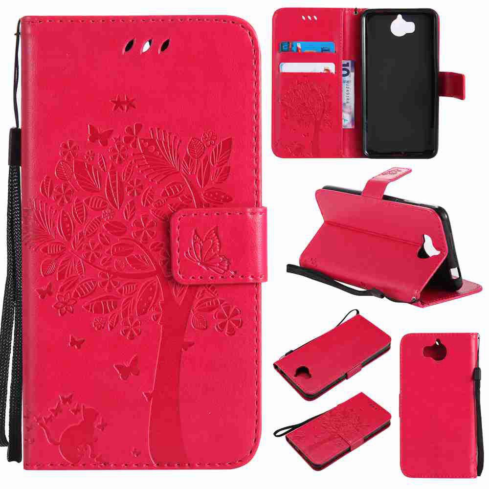 Double Embossed Sun Flower PU TPU Phone Case for HUAWEI  Y5 2017 / Y6 2017 - ROSE MADDER