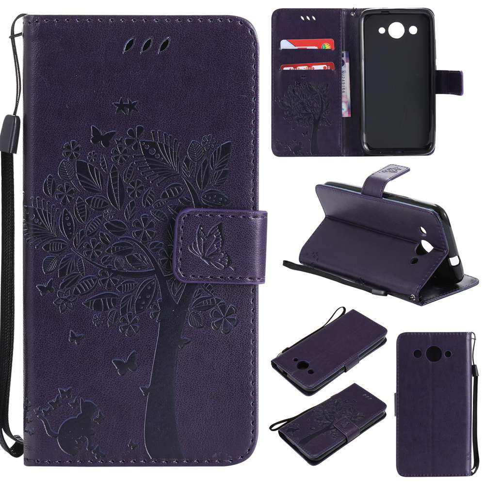 Double Embossed Sun Flower PU TPU Phone Case for HUAWEI  Y3 2017 - PURPLE