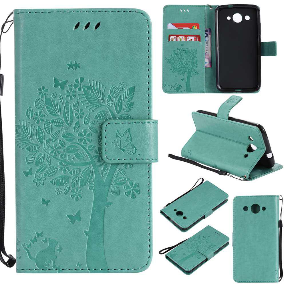 Double Embossed Sun Flower PU TPU Phone Case for HUAWEI  Y3 2017 - GREEN