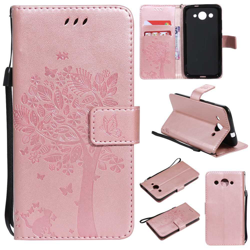 Double Embossed Sun Flower PU TPU Phone Case for HUAWEI  Y3 2017 - ROSE GOLD