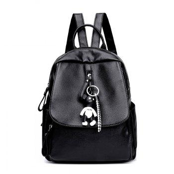 New Ladies / Girls Fashion All Match Bag Backpack with Ornaments - BLACK