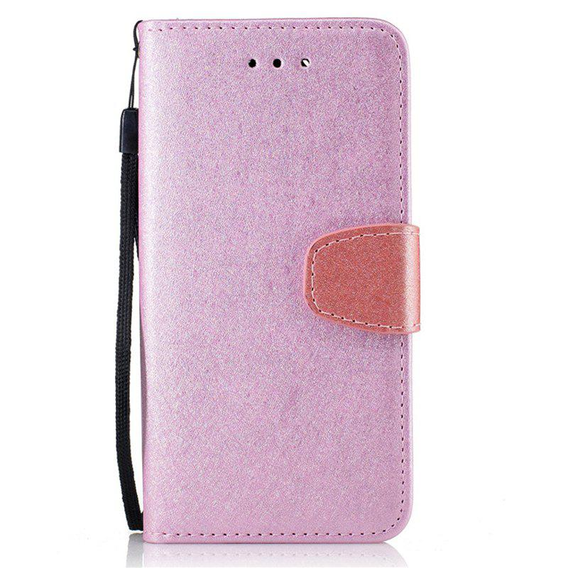 for Xiaomi RedMi Note 4 Natural Silk Double Color Texture PU Leather Case with Wallet Card Slots - PINK