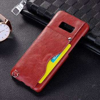 Crazy Horse Stripes PU Leather All Encompassing Case for Samsung Galaxy S8 -  RED