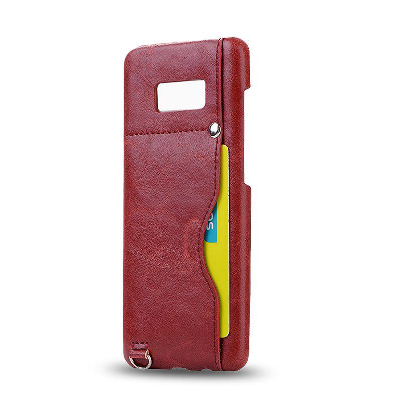 Crazy Horse Stripes PU Leather All Encompassing Case for Samsung Galaxy S8 Plus - RED
