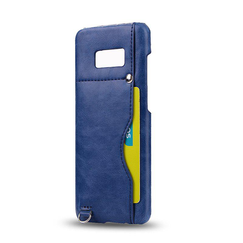 Crazy Horse Stripes PU Leather All Encompassing Case for Samsung Galaxy S8 Plus - BLUE
