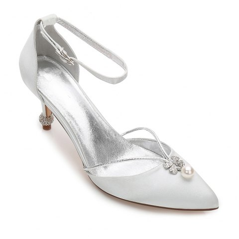 2019 Women s Wedding Shoes Comfort Satin Spring Summer In SILVER 42 ... 752d728339a6