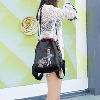 Women's Backpack Embroidery Decoration Casual School Bag - BLACK BLACK