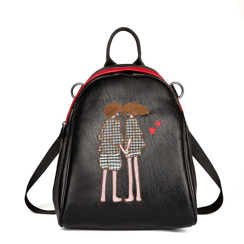 Women's Backpack Embroidery Decoration Casual School Bag - BLACK/PINK HORIZONTAL