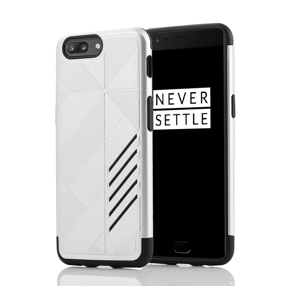 Minismile Shock-proof Scratch-resistant Dual Layer PC Frame TPU Back Case Protective Combined Cover for Oneplus 5 - SILVER