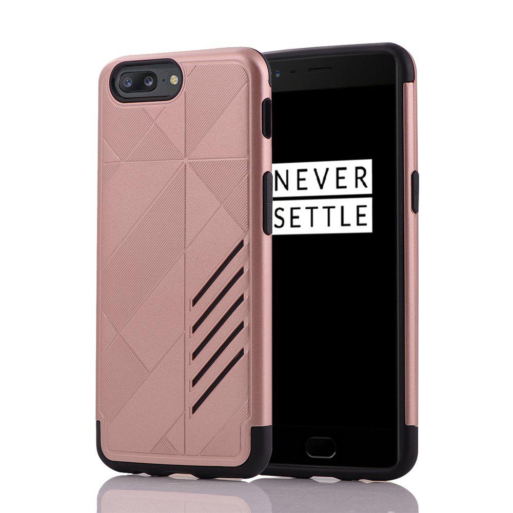 Minismile Shock-proof Scratch-resistant Dual Layer PC Frame TPU Back Case Protective Combined Cover for Oneplus 5 - ROSE GOLD
