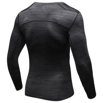 Quick-drying Elastic Gym Tights Long Sleeve Basketball Training Sports Clothes - DARK GREY M