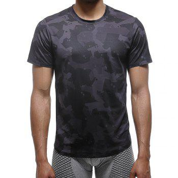 Quick-drying Elastic Sports T-Shirt Breathable Absorbent Gym Clothes - BLACK BLACK